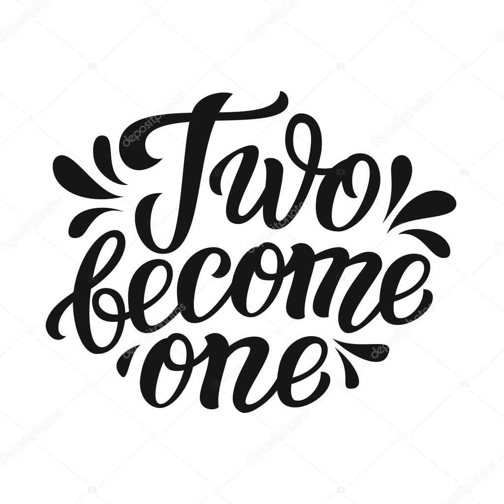 two become one typography template stock vector vicgripas