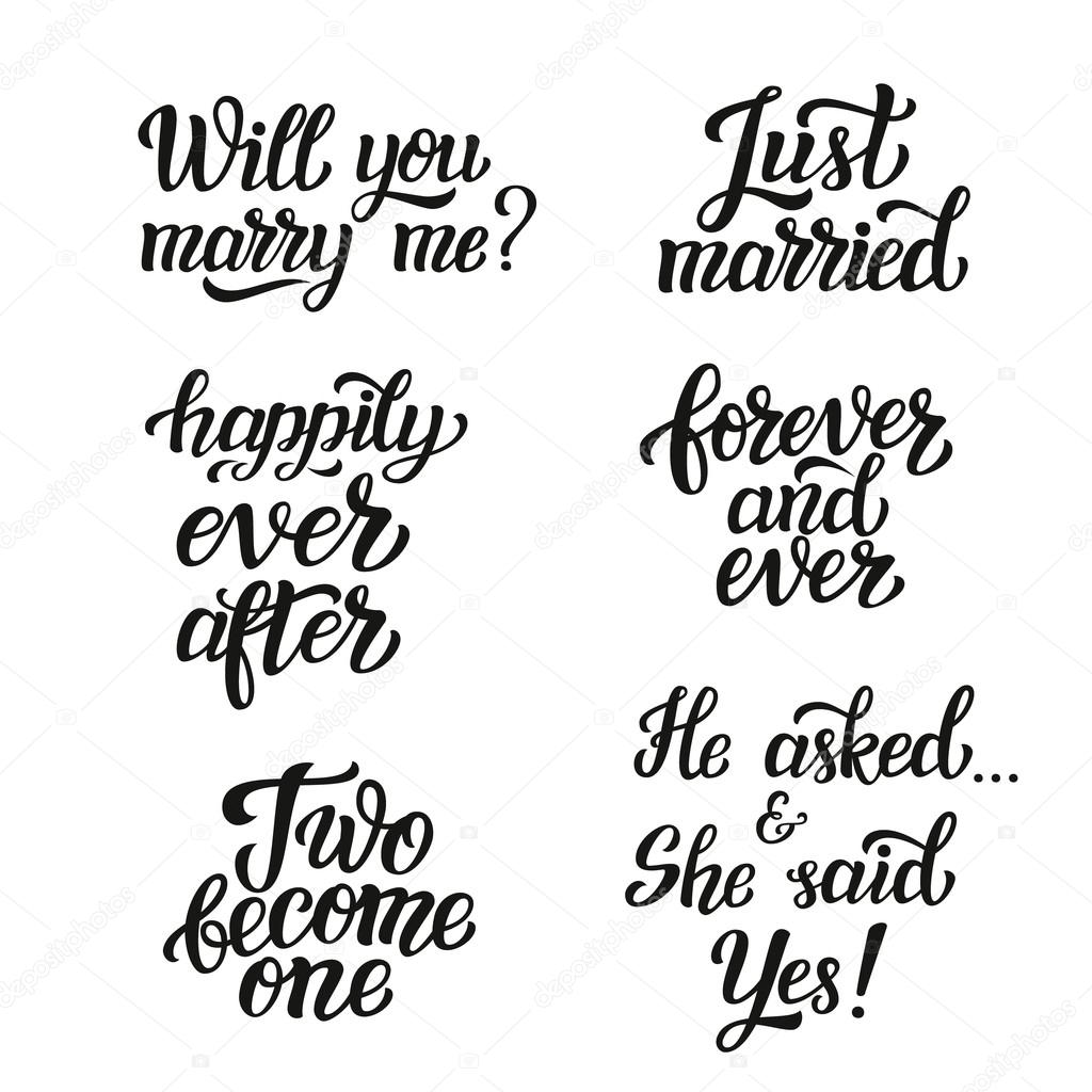 Hand Lettering Typography Wedding Set Stock Vector