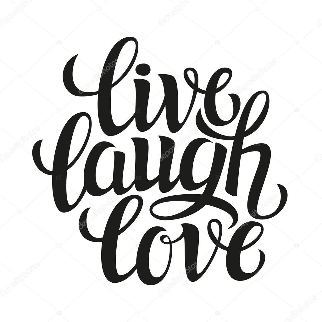 Hand drawn typography poster 'live laugh love' — Stock ...