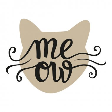 Hand lettering typography poster 'Meow'