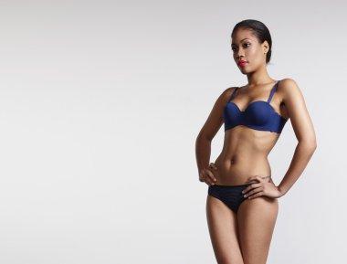Woman wearing blue underwear