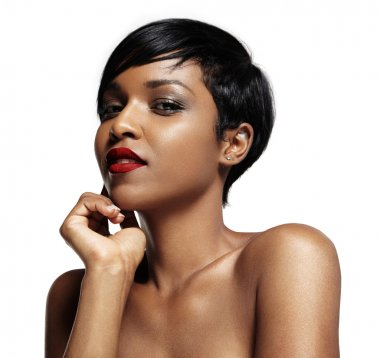 Black woman with red lips