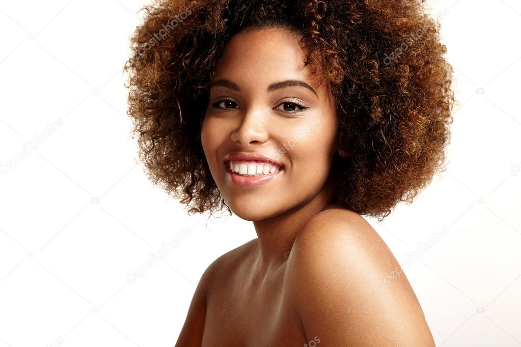 Woman With Afro Hair Style Smiling Stock Photo