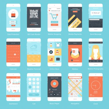 Flat vector collection of modern mobile phones with different user interface elements. stock vector