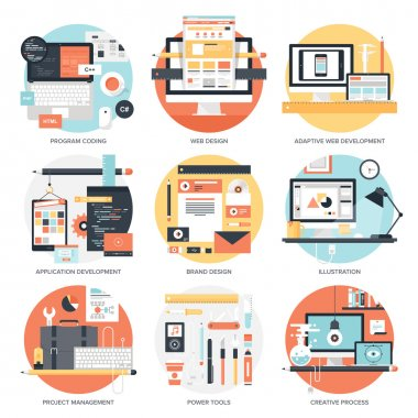 Abstract flat vector illustration of design and development concepts. Elements for mobile and web applications. clip art vector
