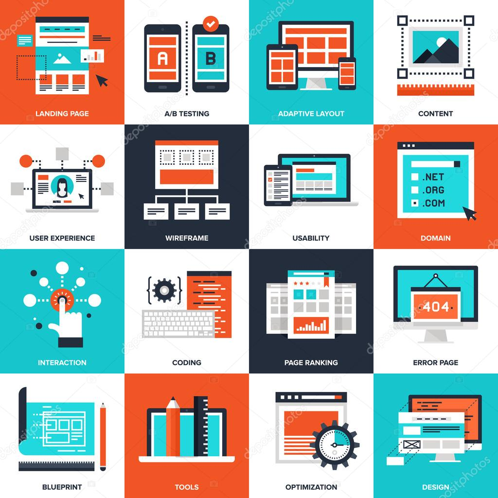 Web development stock vector vasabii777 84980736 abstract vector collection of flat web development icons elements for mobile and web applications vector by vasabii777 malvernweather Gallery