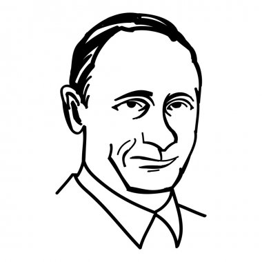 October 1, 2014: A vector, black and white illustration of president Putin