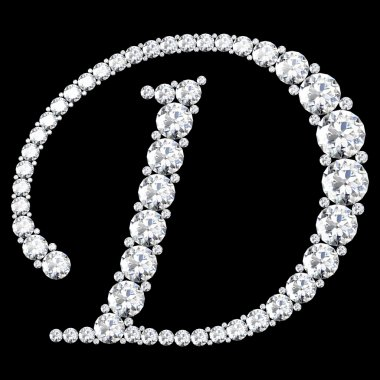 D Letter made from diamonds and gems