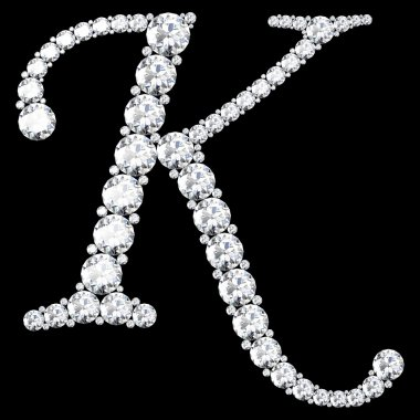 K Letter made from diamonds and gems