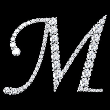 M Letter made from diamonds and gems