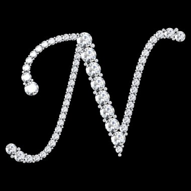 N Letter made from diamonds and gems