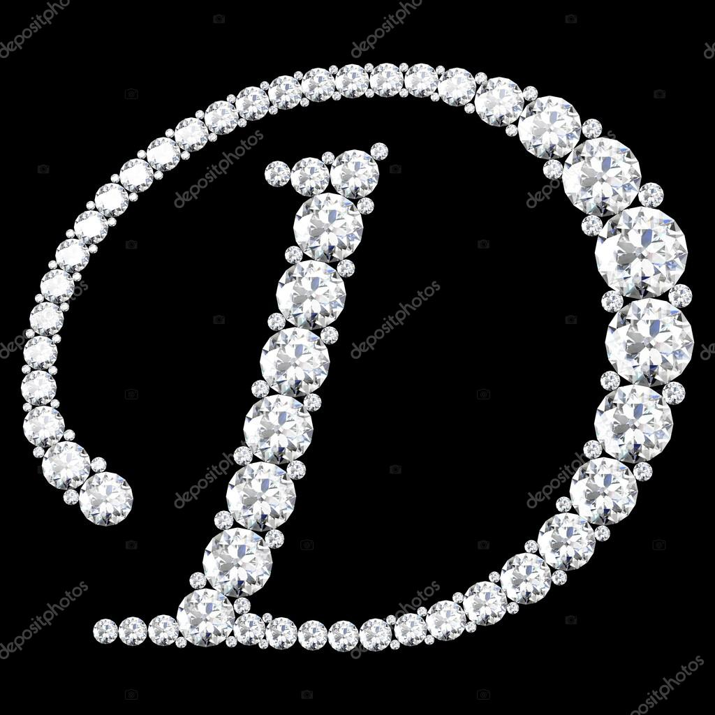 D Letter made from diamonds and gems — Stock Photo ...