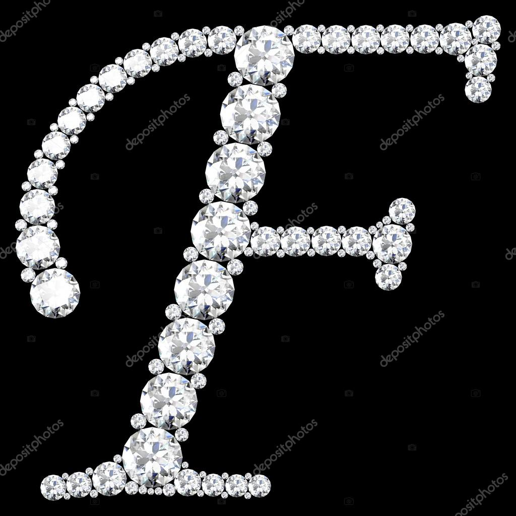 F Letter made from diamonds and gems — Stock Photo ...
