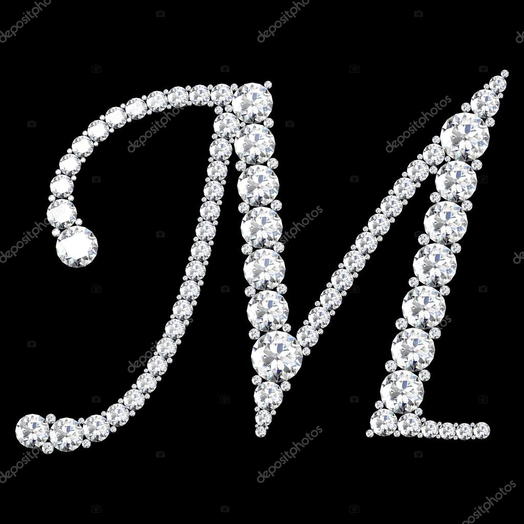 M Letter Made From Diamonds And Gems Stock Photo