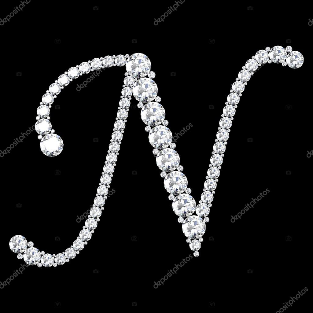 n letter made from diamonds and gems — stock photo