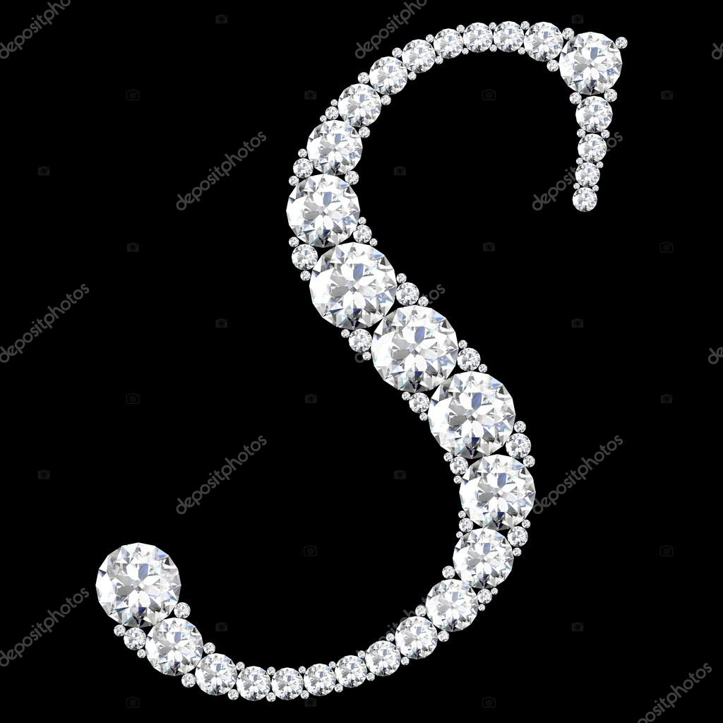 s letter made from diamonds and gems � stock photo