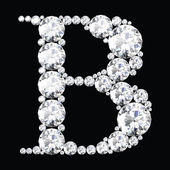 B Letter made from diamonds and gems