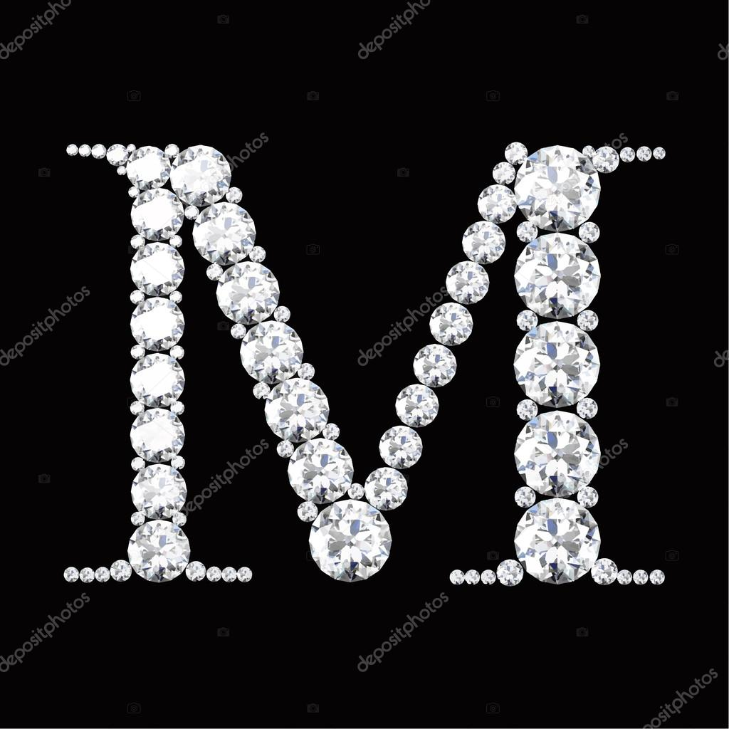 M Letter Made From Diamonds And Gems Stock Vector