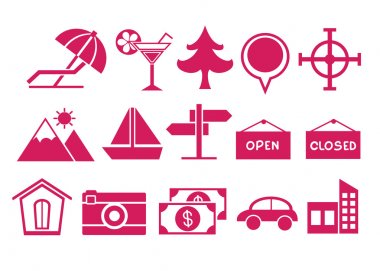 Pink Travel Icons