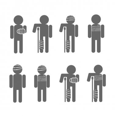 Injury Pain, Stick Figures Icons