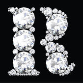 R Letter made from diamonds