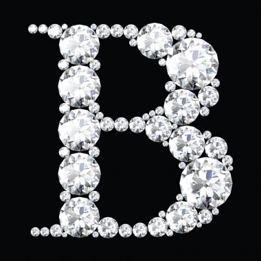 B Letter made from diamonds