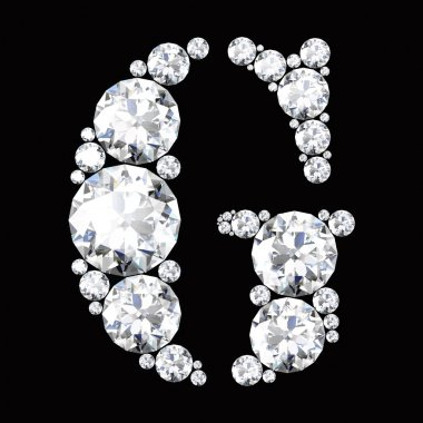 G Letter made from diamonds