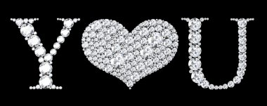 Love you text with diamonds