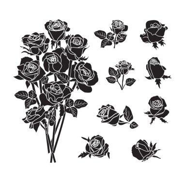 Set of rose symbols