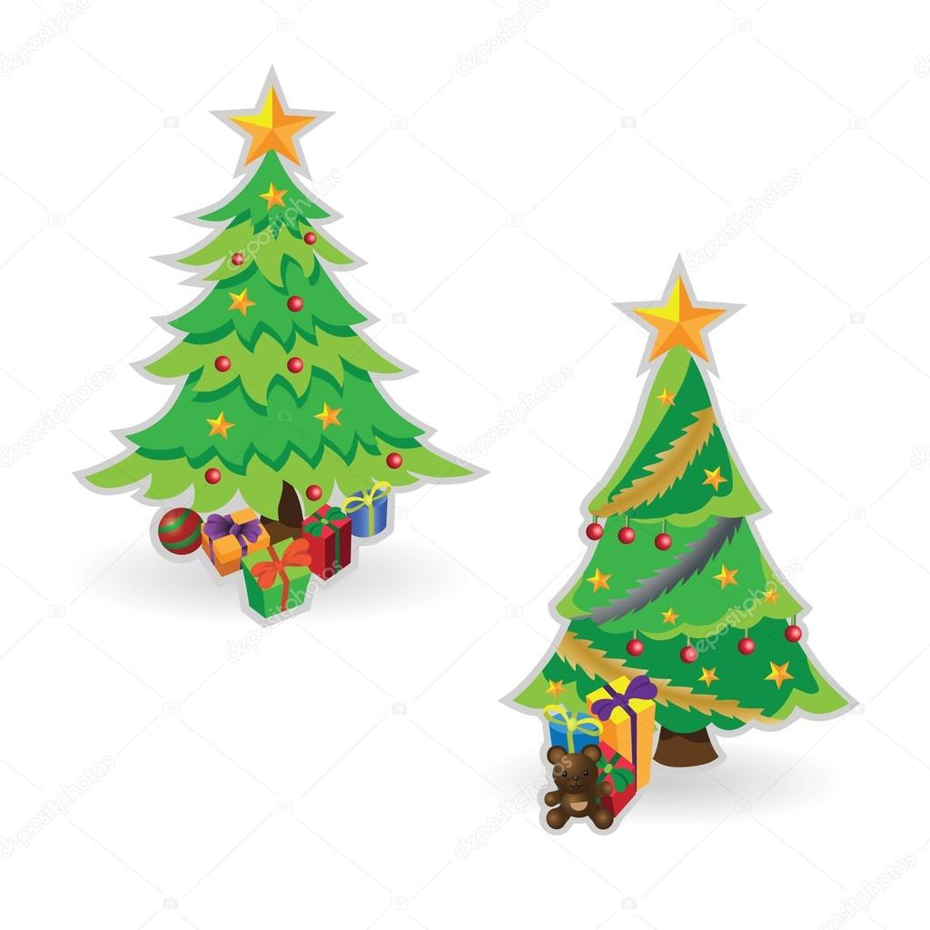 Decorated Christmas trees with gift boxes — Stock Vector © Boykung ...