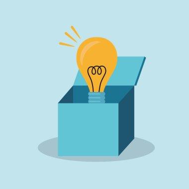 Light bulb over open cardboard box
