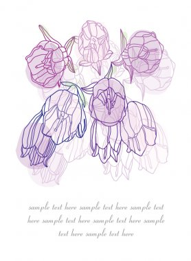 Decorative backdrop of snow lilac flowers hand painted stock vector