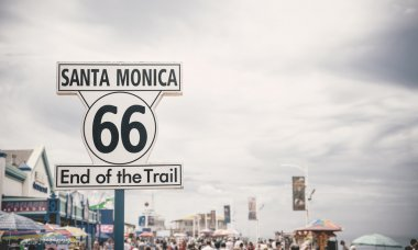Historic Route 66 sign at Santa Monica Pier, Los Angeles