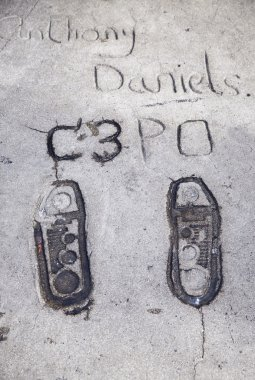 Anthony Daniels C3PO footprints in Hollywood.