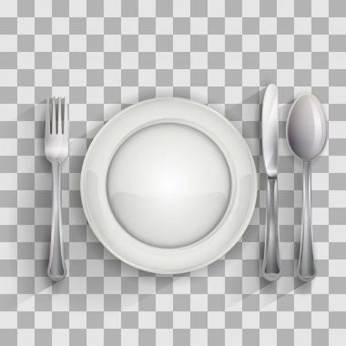 Empty plate with spoon, knife and fork on transparent background, vector illustration 4 your design, eps10 5 layers easy editable clip art vector
