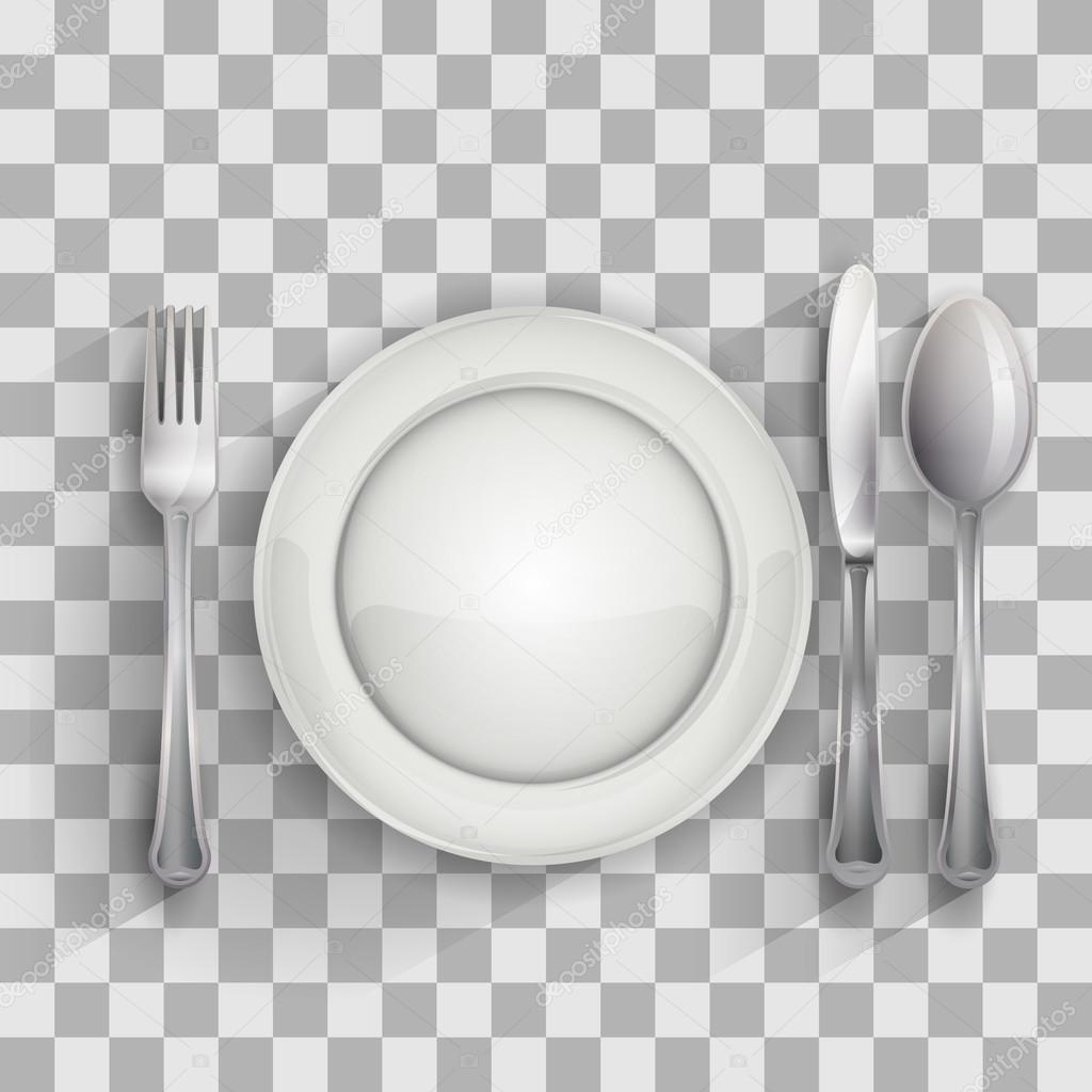 Plato vac o con cuchara cuchillo y tenedor archivo for Plato tenedor y cuchillo