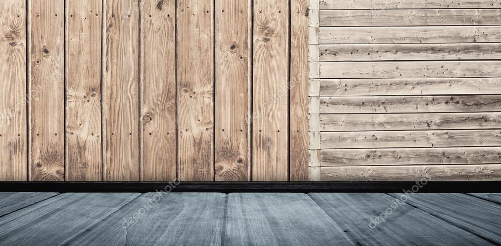 Beroemd Muur met parket tegen houten planken — Stockfoto © Wavebreakmedia SV34