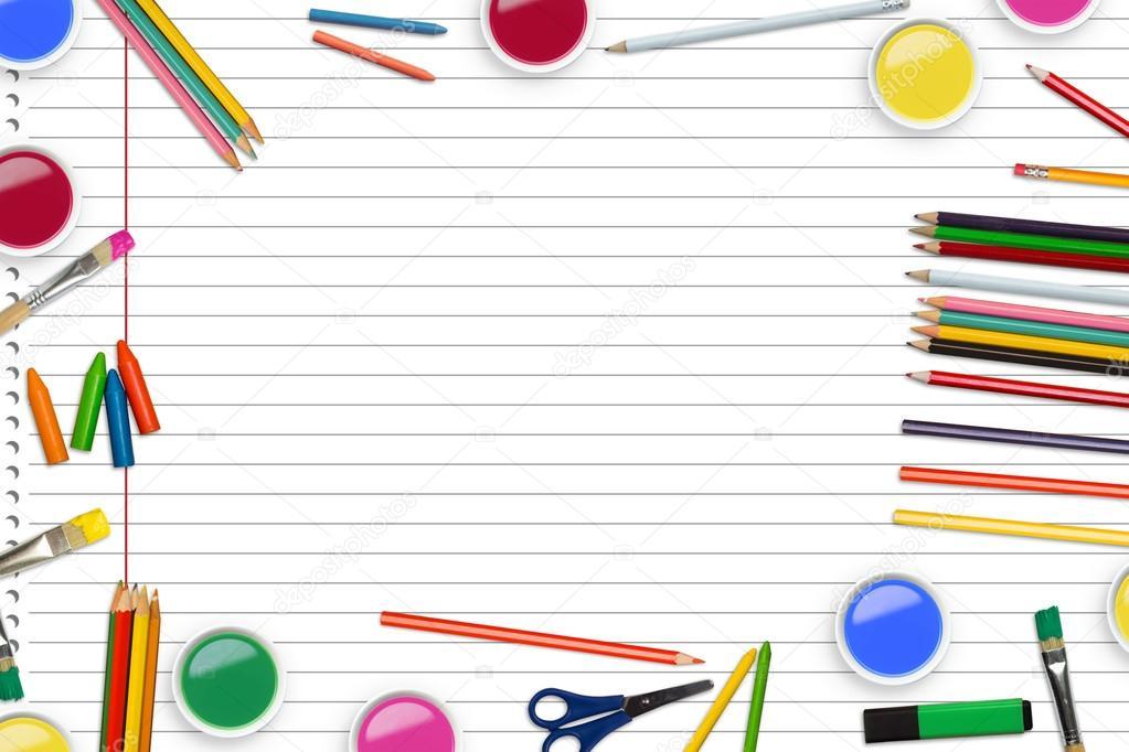 Frame Of School Supply Against Notepad Stock Photo C Wavebreakmedia 120431750