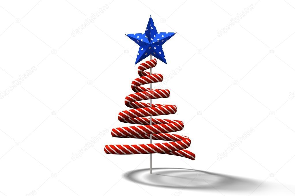 Disegno Spirale Rosso Albero Di Natale Foto Stock