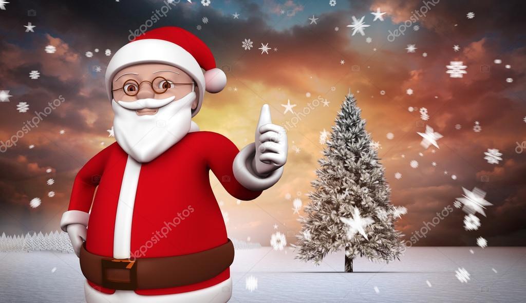 Slozeny Obraz Roztomile Kreslene Santa Claus Stock Fotografie