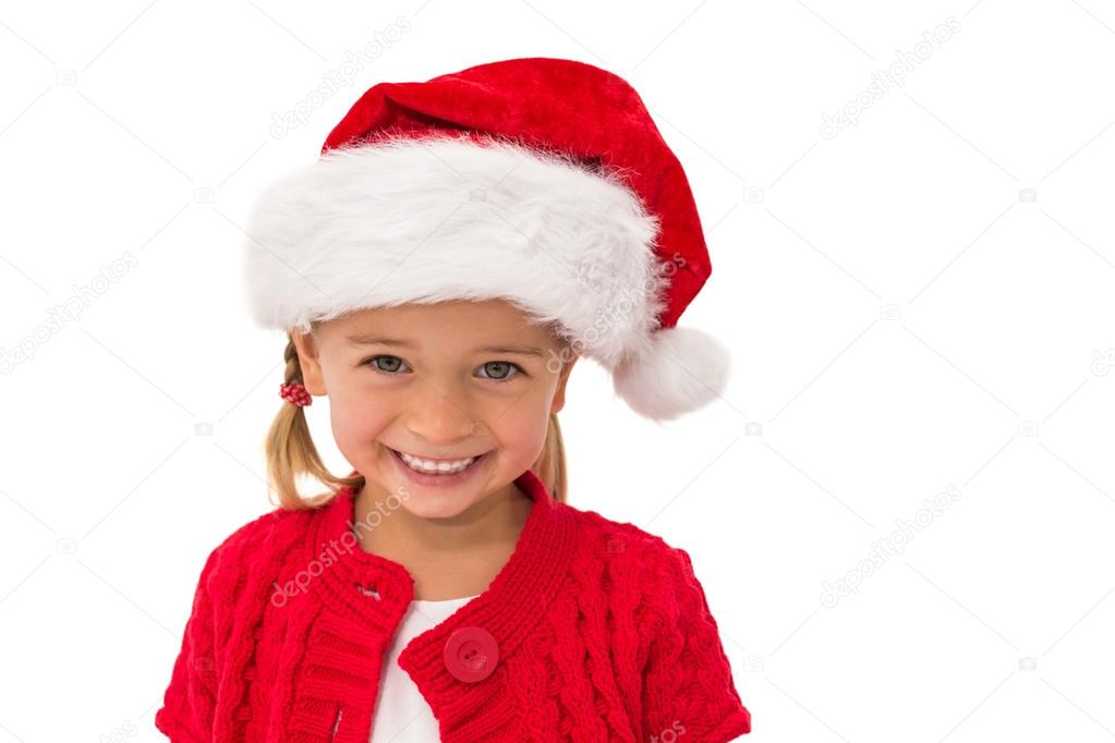 523270fe8499 Cute little girl wearing santa hat on white background — Photo by ...