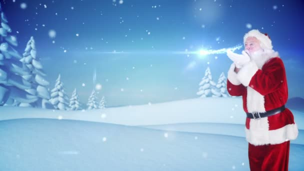 Santa delivering a christmas greeting in snowy landscape stock santa delivering a christmas greeting in snowy landscape stock video m4hsunfo Images