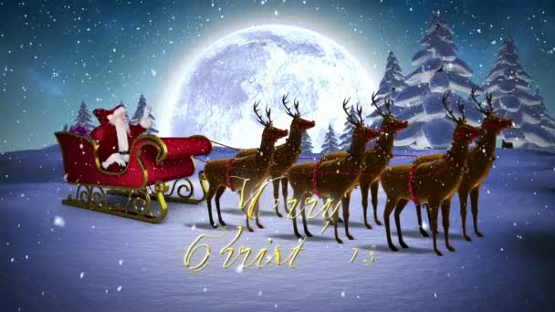 Santa waving in his sleigh with reindeer and greeting stock video santa waving in his sleigh with reindeer and greeting stock video m4hsunfo
