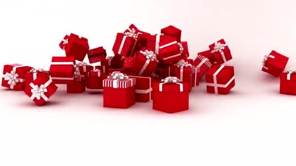 Die Weihnachtsgeschenke.Die Weihnachtsgeschenke Fallen Auf Weißem Hintergrund
