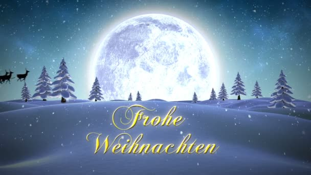 Frohe weihnachten message with flying santa — Stock Video ...