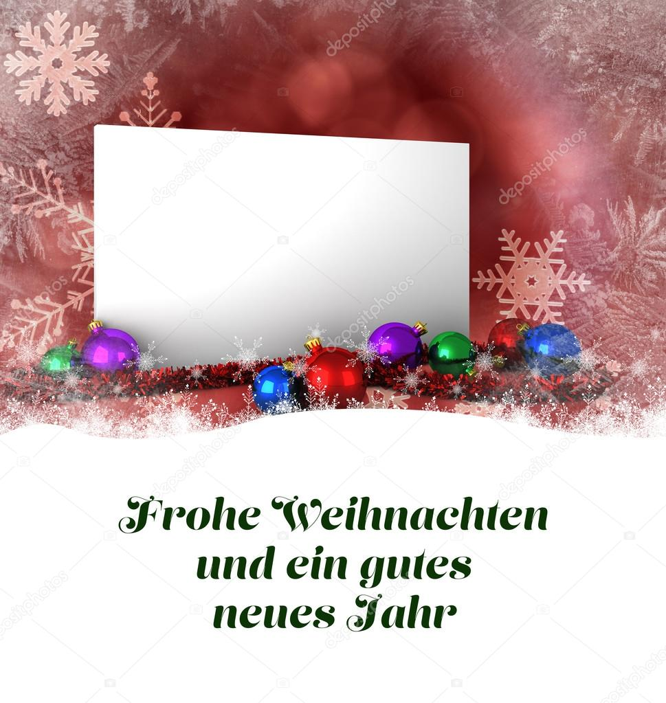 Composite image of christmas greeting in german stock photo christmas greeting in german against poster with baubles photo by wavebreakmedia m4hsunfo