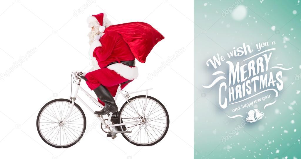 Babbo Natale In Bicicletta.Babbo Natale A Consegnare I Regali Con La Bicicletta Foto Stock