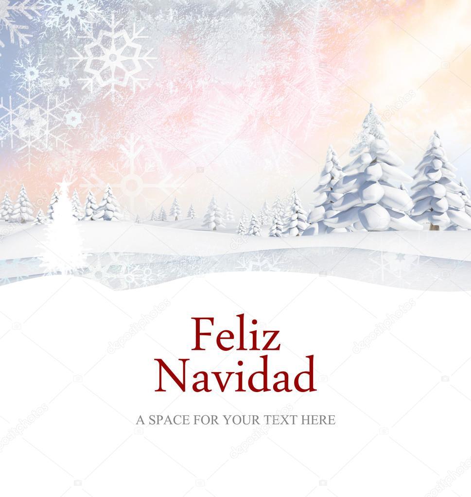 Feliz navidad contra el paisaje nevado fotos de stock - Paisaje nevado navidad ...