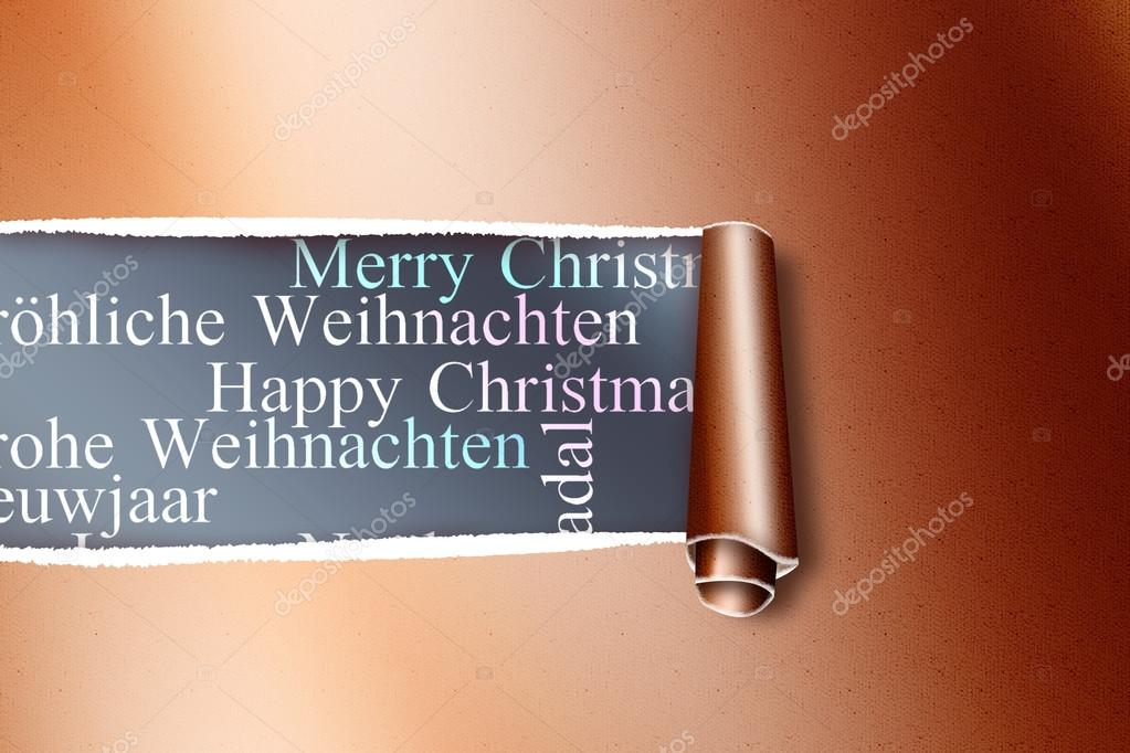 Rip in gold paper against holiday greetings stock photo rip in gold paper against holiday greetings in different languages photo by wavebreakmedia m4hsunfo