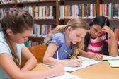 Roztomilý žáků v knihovně
